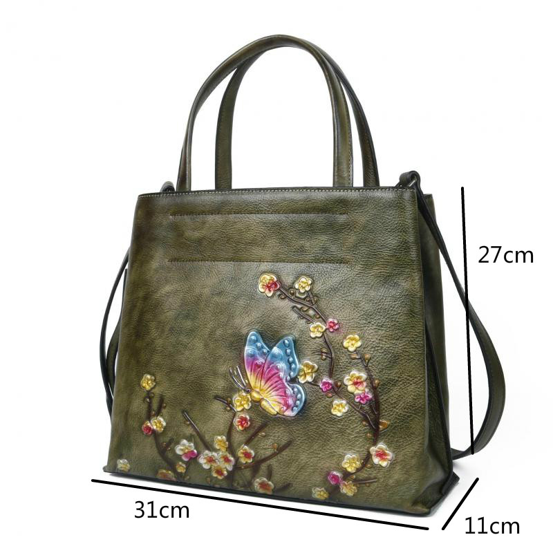 Image 4 - Johnature Retro Large Capacity Luxury Handbags Women Bags 2020  New Genuine Leather Floral Casual Tote Shoulder