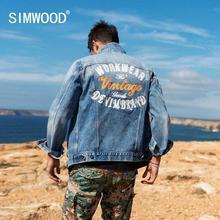 SIMWOOD 2020 Spring New Denim Jacket Men Back embroidery letter high quality plu