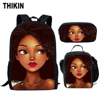 THIKIN African Art Girls Paint Student School Bags Children Backpack for Womens Casual Daypacks Wholesale Custom Mochila