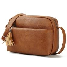 Matte Leather Women Small Shoulder Bag Tassel Vintage Crossbody Bags Lady Brief Design Ladies Messenger Bag Female Handbag Flap