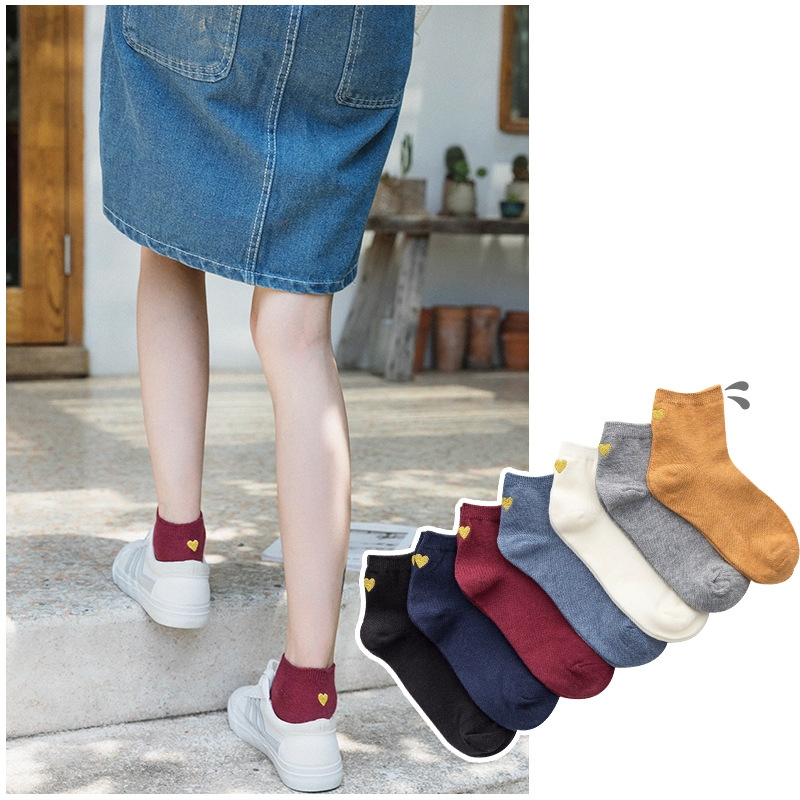 Women Socks 1 Pair  Fashion Cotton Cute  Short School Style Cotton Solid Color Cute Heart Women Fashion Ankle Socks For Women