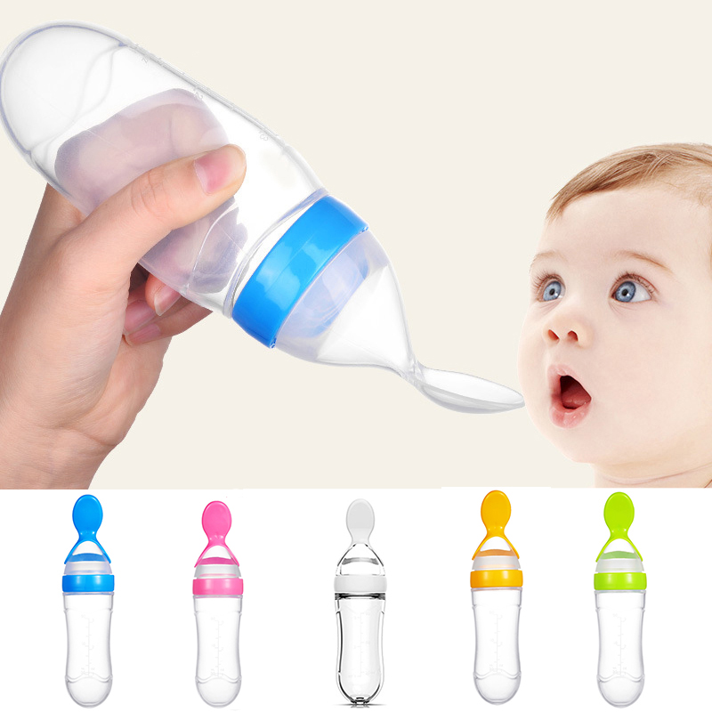 90ml Silicone Baby Feeding Bottle With Spoon Newborn Infant Squeeze Spoon Toddler Food Supplement Rice Cereal Bottle Milk Feeder