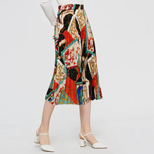2019 Amoi Pleated Skirt-Style Contrasting Color A- line Printed Western Style Mid-length Skirt-1908(China)