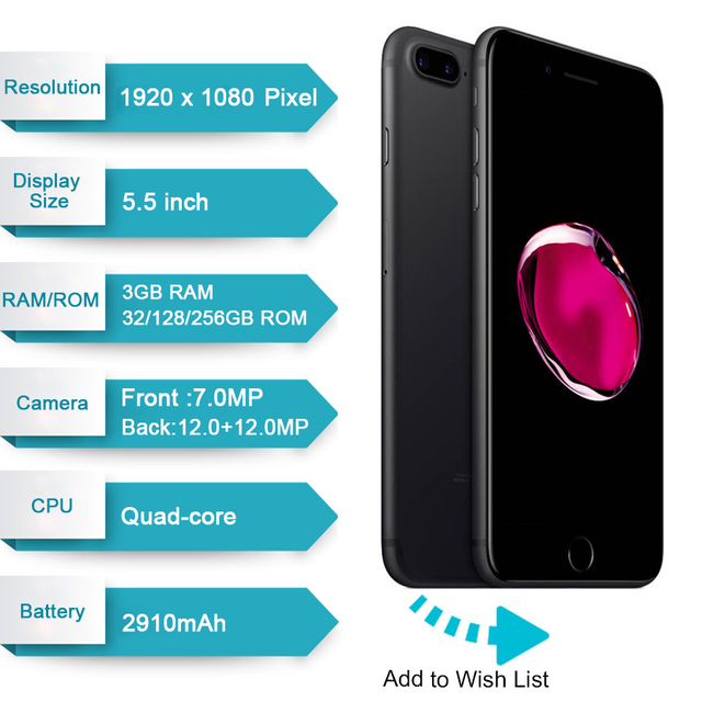 Original Apple iPhone 7 Plus Fingerprint 3GB RAM 32/128GB IOS Cell Phone LTE 12.0MP Camera Apple Quad-Core12MP Cellphone  99%new