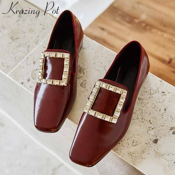 Krazing pot hot shiny gorgeous crystal square buckle genuine leather shoes Princess style square toe low heels women pumps L23