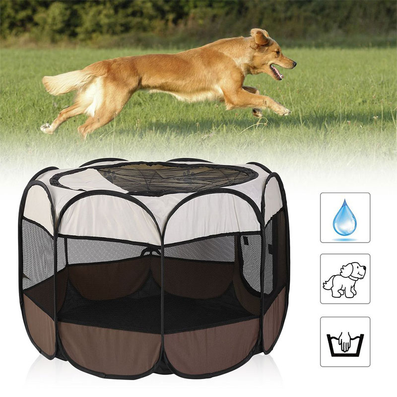 <font><b>Portable</b></font> Outdoor <font><b>Kennels</b></font> Fences <font><b>Dog</b></font> Tent Houses For <font><b>Dogs</b></font> Foldable Indoor Puppy Cats Pet Cage Octagon Fence image