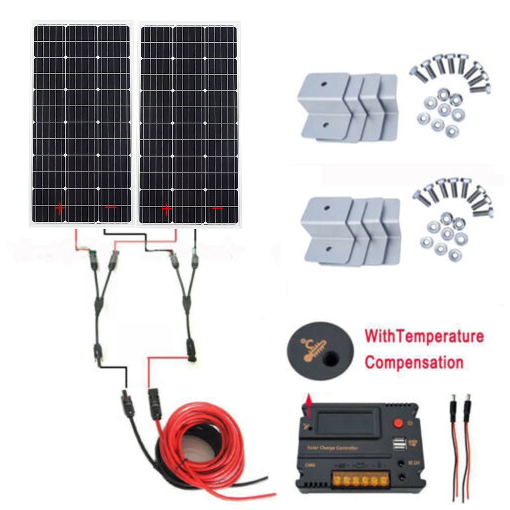 ECOworthy 200W Solar System 2 100W Mono Solar Panel 20A Controller for 12V battery charger RV