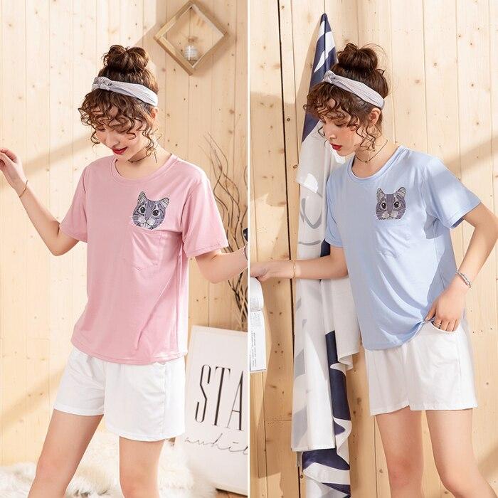 Women's Pajama Sets 2020 Summer Short Sleeve Trousers 2 Pcs Thin Cotton Premium Pyjamas Good Quality Pijama Casual Sleepwear