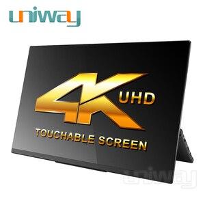 Image 5 - Uniway 4k hdr przenośny monitor ekran dotykowy 15.6 hdmi typu c dla laptop telefon xbox przełącznik ps3 ps4 monitor gamingowy