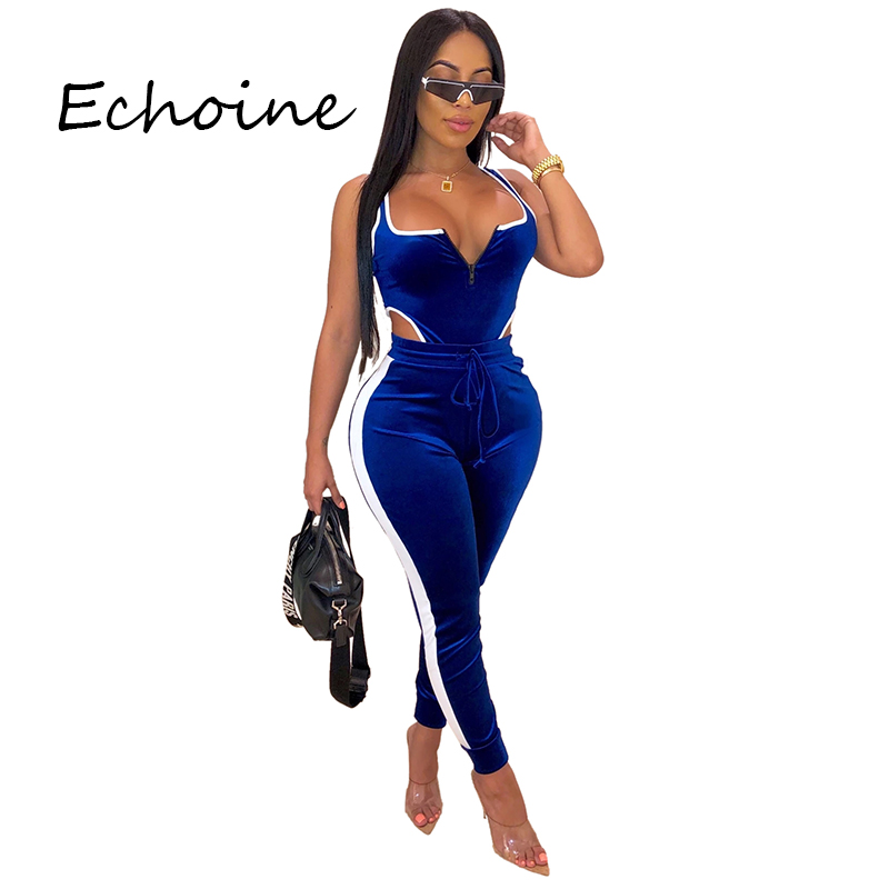 Echoine Fahion Two Piece Set Running Sportwear Suit Pants Set Sexy Backless Hollow Out Vestidos Women Two Piece Outfits 3 Color