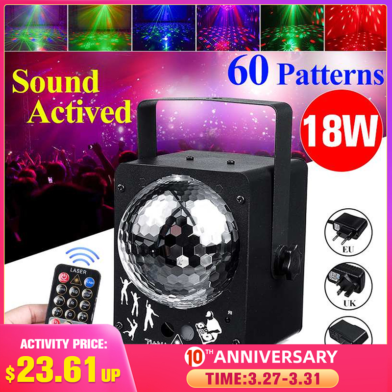 60 Pattern Sound Activated Disco Ball Party Lights Strobe Light 18W RGB LED  Lights For Christmas Home KTV Wedding Show|Stage Lighting Effect| |  - title=