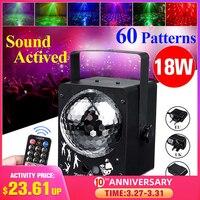 60 muster Sound Aktiviert Disco Ball Party Lichter Strobe Licht 18W RGB Led leuchten Für Weihnachten Home KTV Hochzeit zeigen-in Bühnen-Lichteffekt aus Licht & Beleuchtung bei