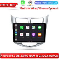 CarExc Autoradio Android 9.0 Car Muiltmedia Player For Hyundai Solaris Verna Radio Built in CarPlay With GPS Navigation No DVD