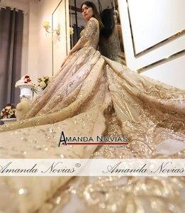 Image 2 - Amanda Novias 2020 kolekcja ciężki frezowanie praca złota suknia ślubna 100% rzeczywiste zdjęcia
