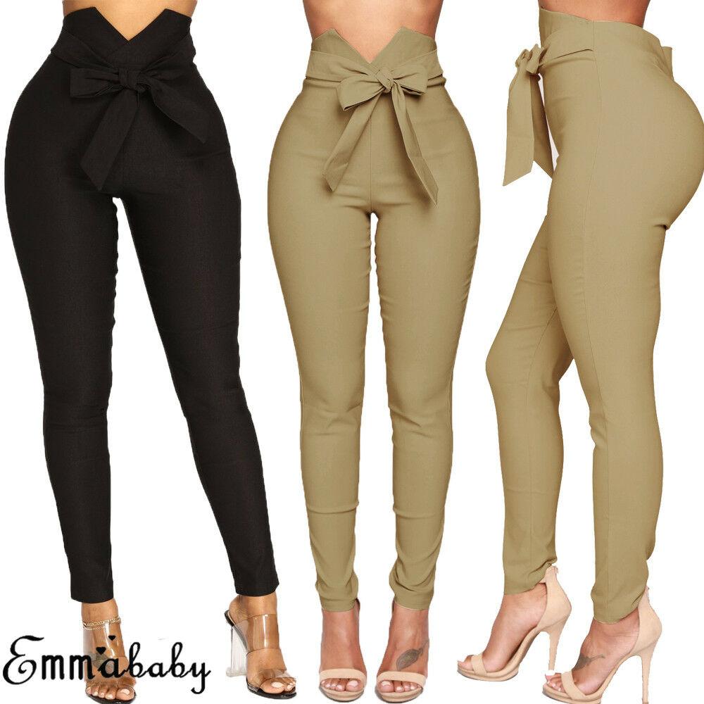 Hirigin Women Casual High Waist Waist Bow Tie Long Slim Skinny Stretch Solid Pants Sashes Pencil Trousers