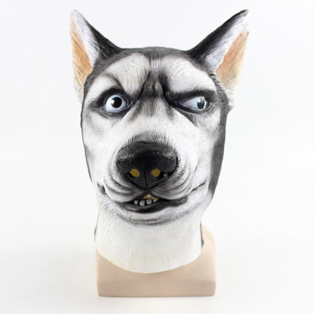 Mask Halloween Latex Terror Husky Dog Halloween Mask Full Face Horror Cosplay Adults Animal Costume Party Mask Supplies L816