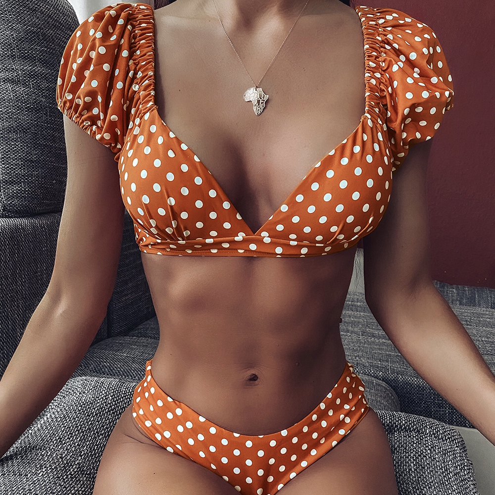 ZTVitality Print Dot Bikini 2020 New Arrival Padded Short Sleeve Swimsuit Female Mid Waist Sexy Swimwear Women Brazilian Biquini