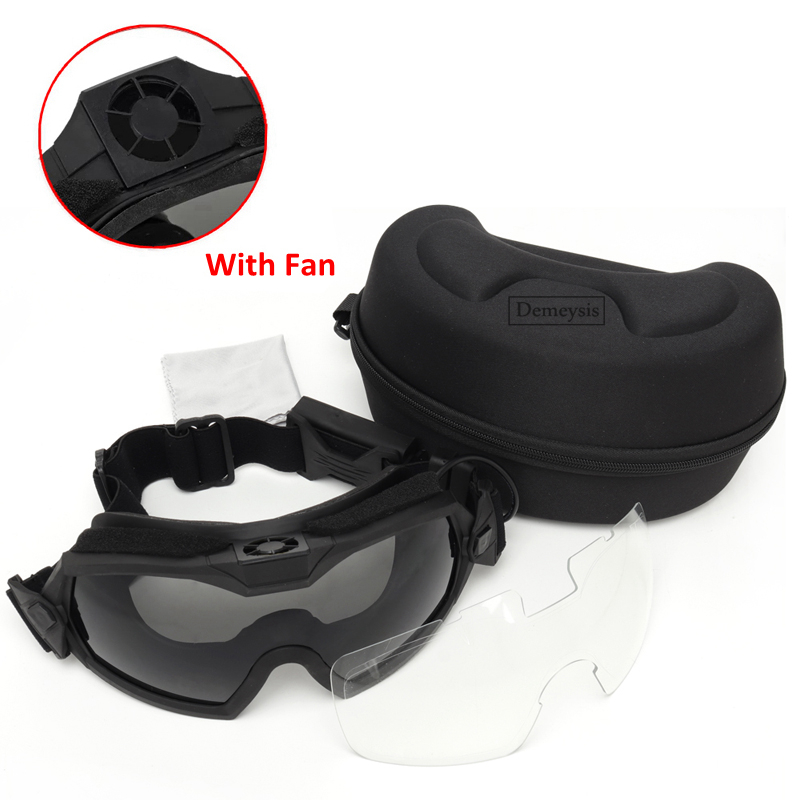Tactical Goggles with Fan Anti-fog Military Airsoft Paintball Safety Eye Protection Glasses Eyewear