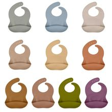Baby Soft Silicone Bib Infant Toddlers Solid Color Feeding Food Catcher Pocket Waterproof Saliva Dripping Apron
