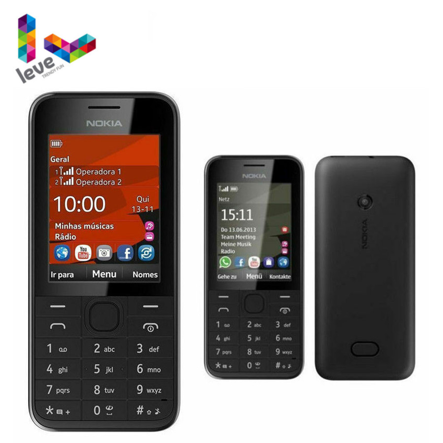 Nokia 208 Hebrew Single Sim Version Phone GSM Support Hebrew&Arabic&Russian Keyboard Unlocked Used Phone