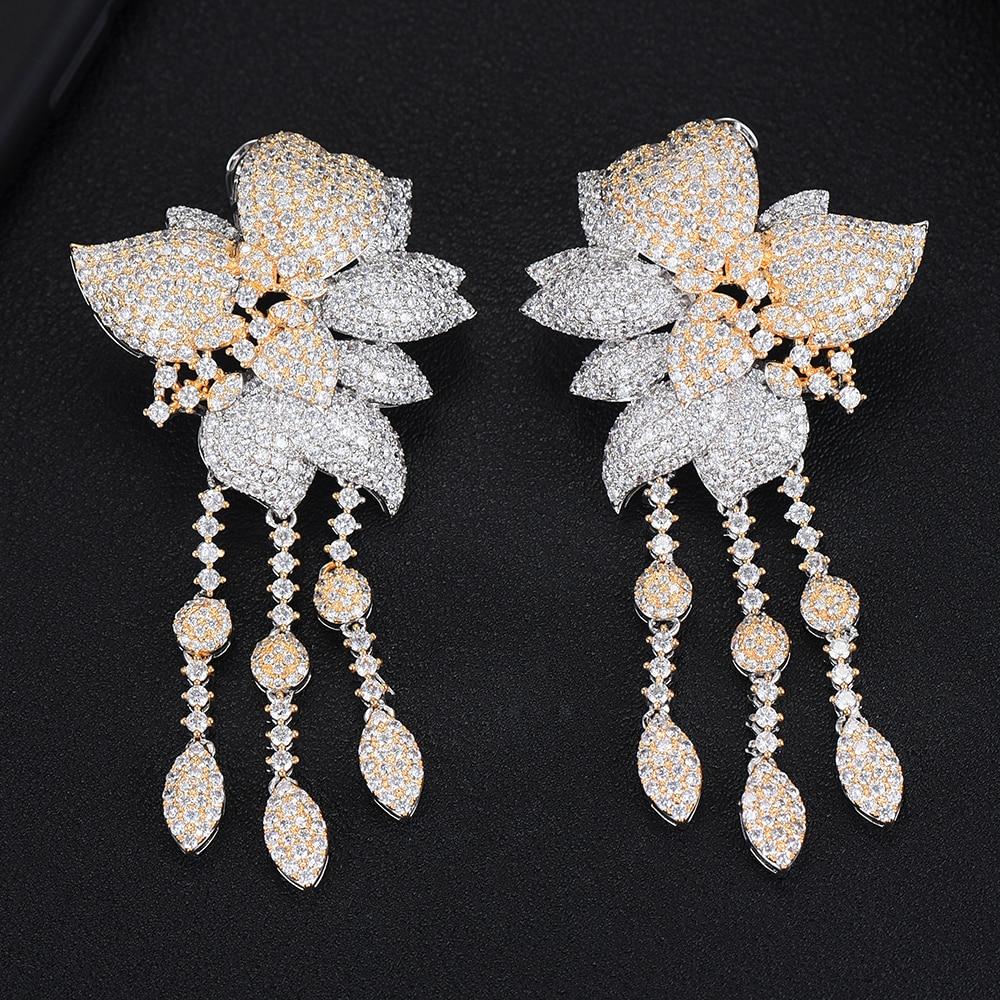 LARRAURI Hot luxe magnifique breloques plein Mini zircon cubique grandes fleurs boucles d'oreilles pour les femmes bal fête accessoires bijoux 2019