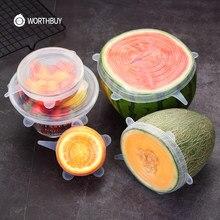 WORTHBUY 6 adet/takım silikon kapak evrensel streç silikon kapaklar gıda meyve kasesi kullanımlık silikon kapakları mutfak aksesuarları
