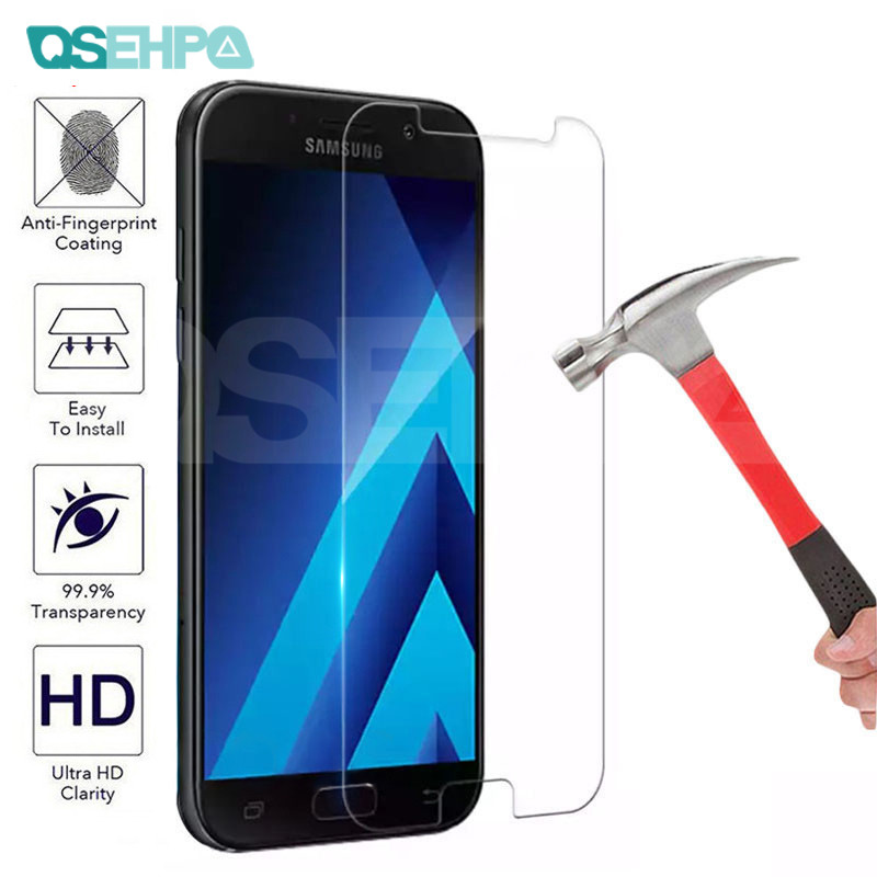 0.22mm Tempered Glass For Samsung Galaxy J3 J5 J7 A3 A5 A7 2015 2016 2017 A6 A8 A9 2018 Screen Protector Glass Protective Film