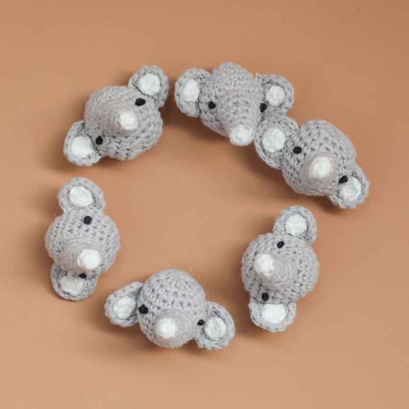 Let's Make 5pcs Elephant Amigurumi Beads Pacifier Clips DIY Accessories Cartoon Animals Shape Teething Toys Baby Teethers Patent