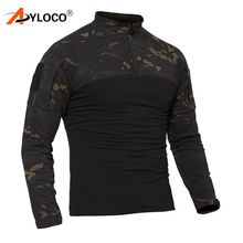 US Camouflage Army T-Shirt Men Soldiers Combat Tactical T Shirt Military Force Multicam Camo Hunting Hiking Long Sleeve T-Shirt camouflage cold shoulder slit t shirt