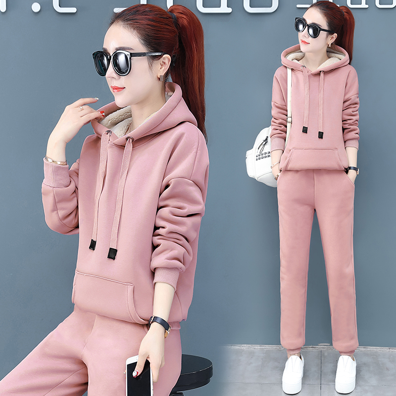 2019 Winter Thicken Sport Two Piece Sets Outfits Women Plus Size Hooded Sweatshirts And Pants Suits Casual Fashion Tracksuits 51