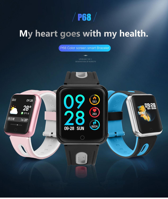 Smart Bracelet Pedometer Blood-Pressure-Monitoring Heart-Rate Bluetooth Waterproof P68
