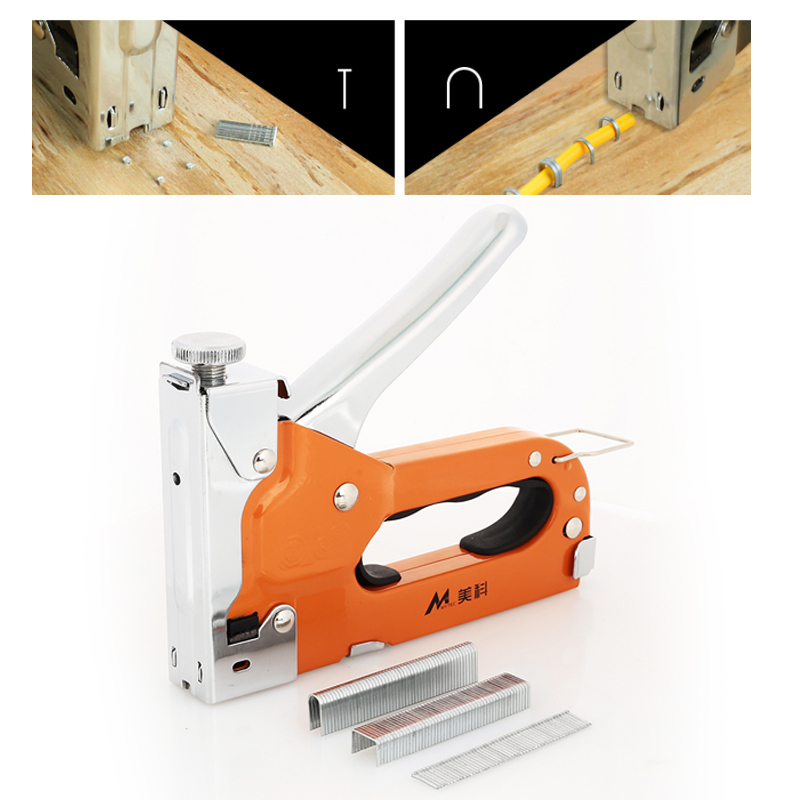 Nailers Rivet Tool Metal Home Improvement Multifunction Wooden Door Durable Nail Staple Gun Wood Dowel Orange Updated