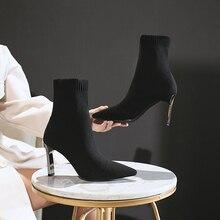 SEGGNICE skarpety buty kobiety moda 2020 buty na wysokim obcasie Sexy botki czarny Slip na cienkim obcasie buty kobieta panie Party Boot