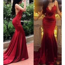 sexy prom dresses backless red mermaid spaghetti lace appliques beading formal dresses evening dress gowns robe de soiree стоимость