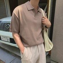 Мужская Летняя одежда футболка с отложным воротником и коротким