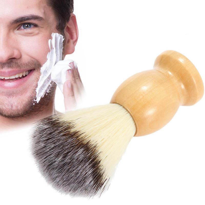 1Pc  Wood Handle Shaving Brush Barber Salon Men's Facial Beard Cleaning Appliance Razor Brush Professional Shave Beard Brush