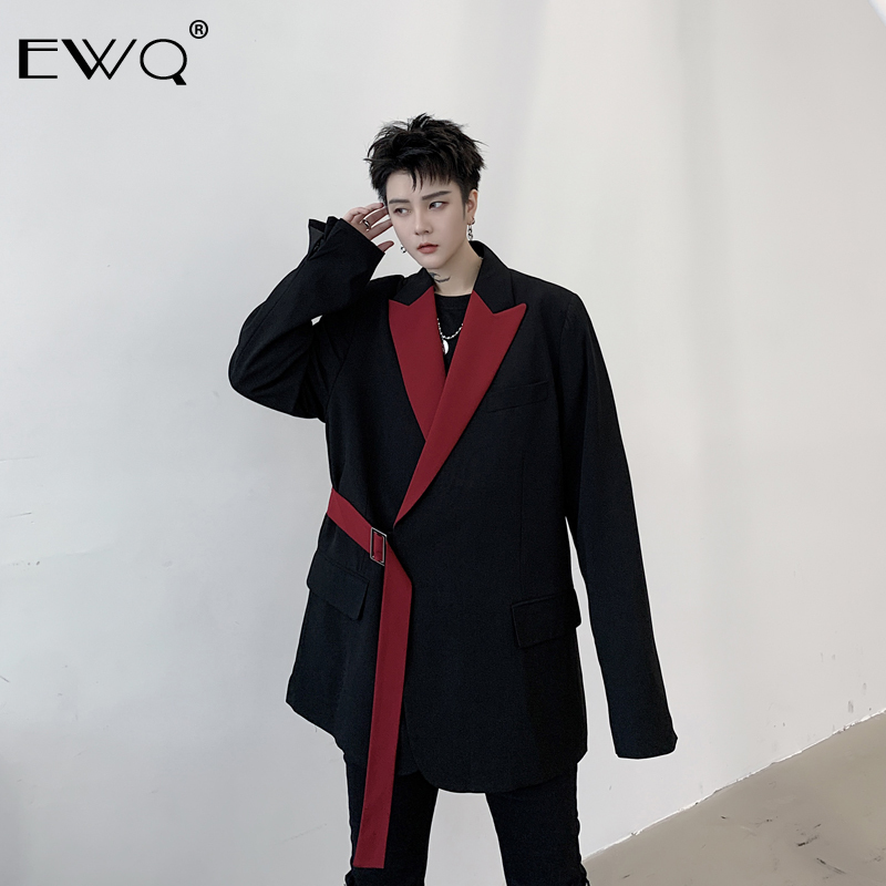 EWQ / 2020 Spring New Men't Clothing Personality Hit Color Notched Collar Blazers Male Design Man's Suit Loose Coat Tide 9Y218
