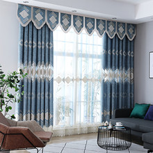 Mediterranean Luxury Chenille Embroidered Curtains for Bedroom Living room Window Treatment Sheer Tulle Curtains