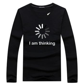 Hip Hop Men's Long SleeveT Shirts Summer Brand Casual O-Neck Short Sleeve T-shirt Mens I'm Thinking Funny Printing Tee - discount item  46% OFF Tops & Tees