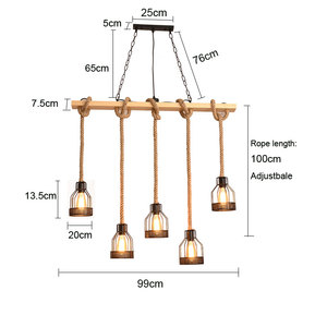 Image 2 - American retro multi heads pendant lamp industrial wind headlight clothing store living room bar cafe creative twine chandelier