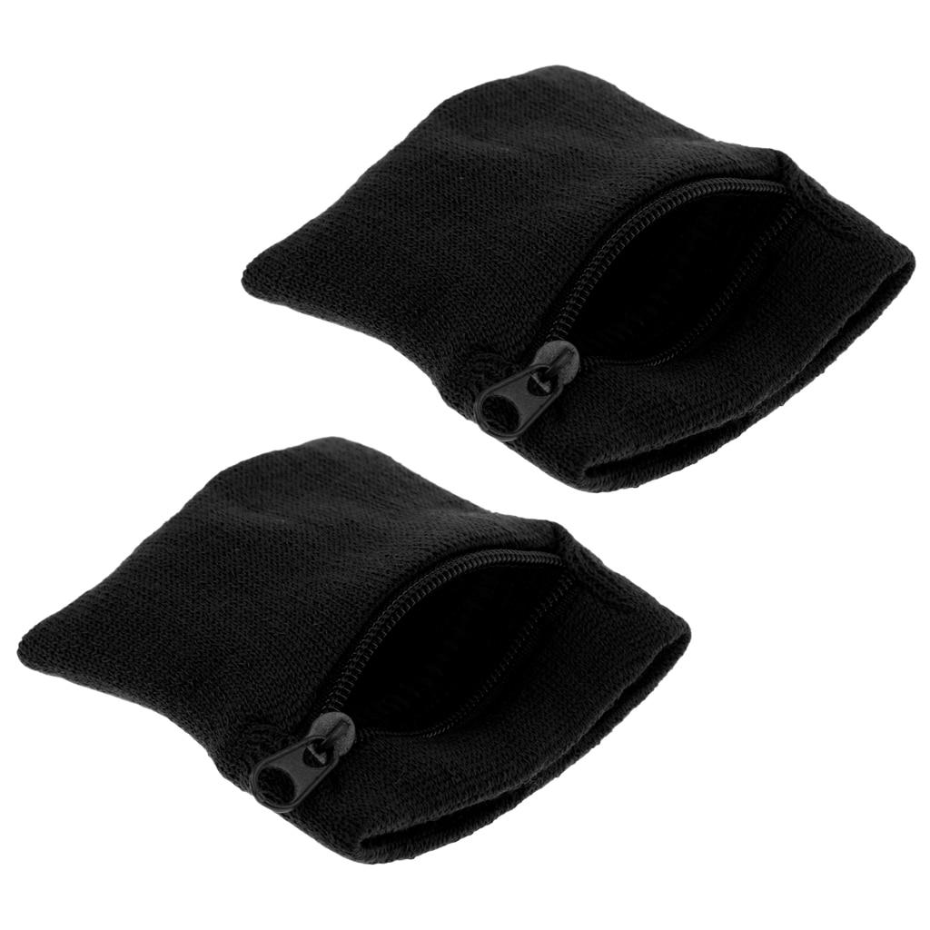 2 Pieces Sports Wristbands Sweatband Wallet Zipper Pocket - Black