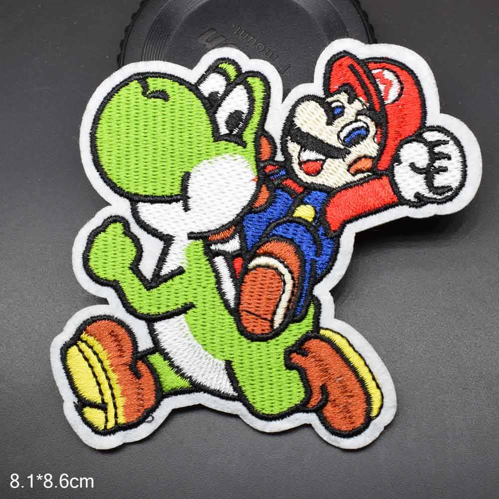 Cartoon Game Super mario Riding Dragon Iron on Embroidered Cloth Patch For Girls Boys Clothes Wholesale