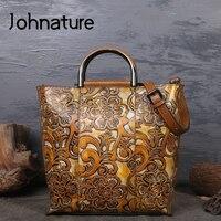 Johnature 2020 New Women Handbag Genuine Leather Totes Vintage Floral Handmade Embossed Cowhide Large Capacity Shoulder Bag