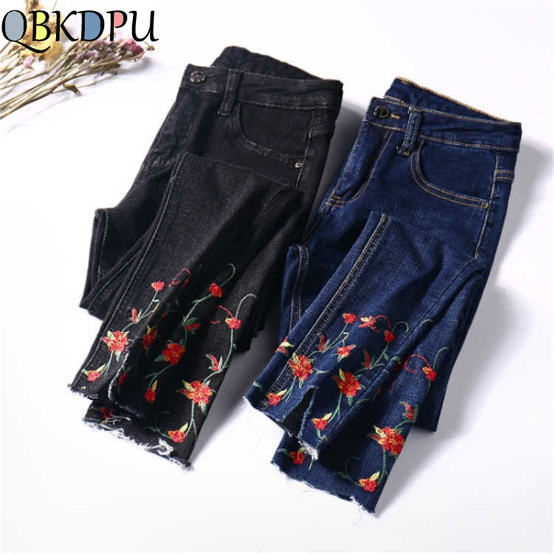 Fashion Slim Stretch Flower Embroidered Jeans For Women Plus Size Female Pencil Denim Pants Mom Skinny Casual High Waist Trouser