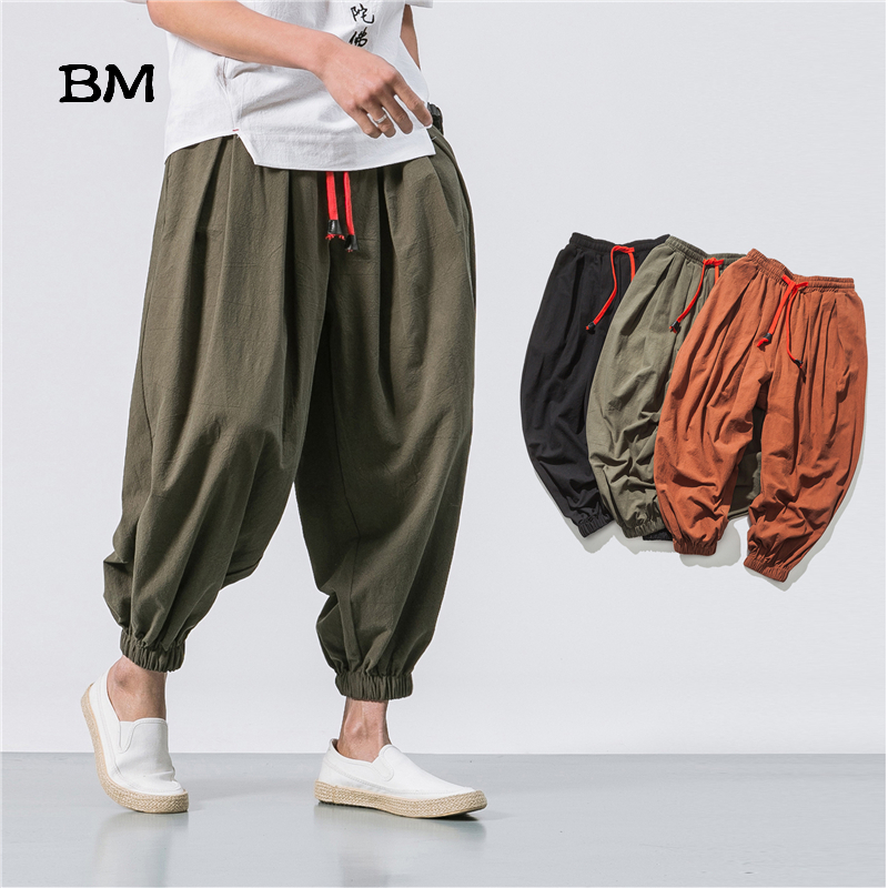 New Summer & Spring Japan Style Men Cotton Linen Harem Pants Chinese style Male Causel Trousers