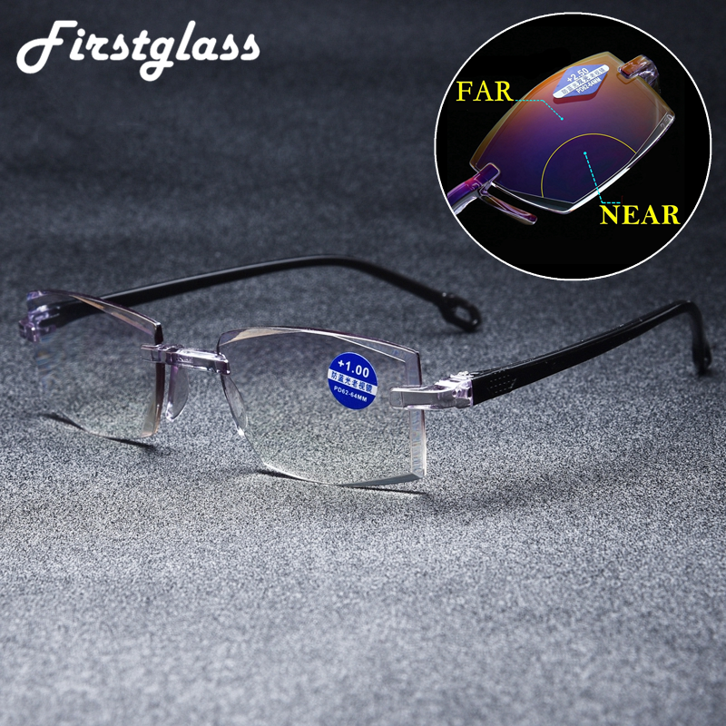 2019 NEW Rimless Bifocal Diamond Cutting Reading Glasses Anti Blue Ray Lightweight Multifocal Presbyopic Glasses TR Frame Cheap