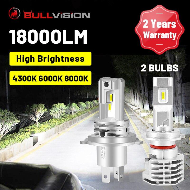 BULLVISION H11 светодиодный фары H7 H4 H8 H9 9005 9006 HB3 HB4 4300K 6000K 8000K Автомобильные фары 18000LM светодиоды с чипом CSP 12V Plug & Play