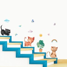 Cartoon Cute cat Cloud butterfly wall sticker for kids rooms home decor living room decoration accessories wallpaper decals