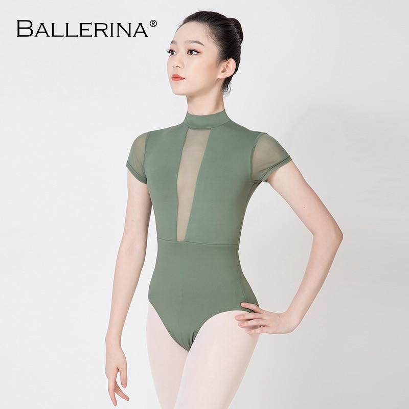 Ballerina Ballet Leotards For Women Mesh Gymnastics  Practice Leotards Adult Turtleneck Short Sleeve Leotard 3572