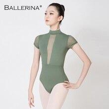 Ballerina Ballet Maillots Voor Vrouwen Mesh Gymnastiek Praktijk Maillots Volwassen Coltrui Korte Mouw Turnpakje 3572